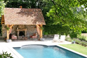 Swimming pool at this luxury chateau accommodation in Burgundy