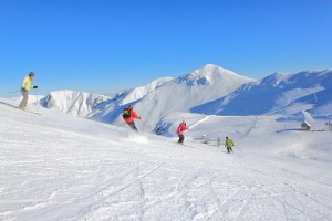 Downhill skiing in the Sancy mountains of the Auvergne, Central France