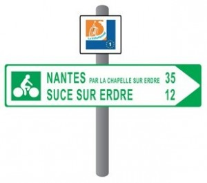 Signpost indicating a cycling route in France