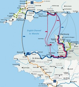 Map showing the Tour de Manche in Normandy and Brittany