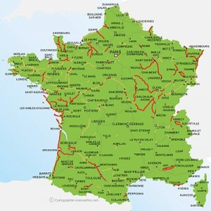 Map of the 'greenways' or voies vertes of France