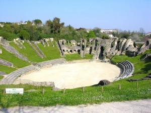 The impressive Roman amphitheatre in Saintes