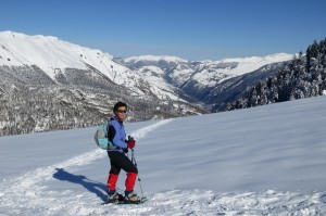 Snowshoeing in the mountains of the Pyrénées in France