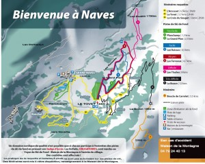 Typical map of waymarked snowshoe circuits in the Savoie department