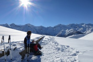 Snow-shoeing in the mountains of the Pyrenees in SW France