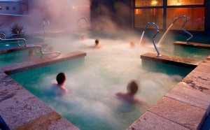 Relaxing in the thermal waters of a spa in Ax-les-Thermes in the Pyrénées