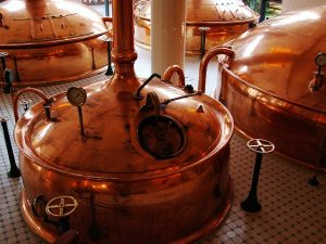 Copper brewing vats for beer making